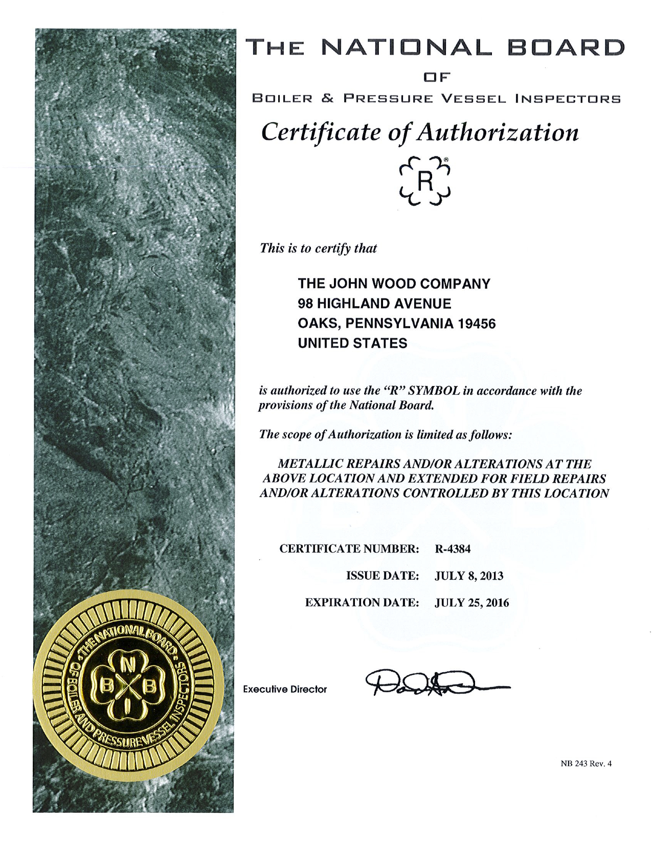 The john wood company certificates the john wood company asme r stamp certification xflitez Choice Image