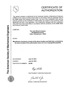 ASME U-Stamp Certification