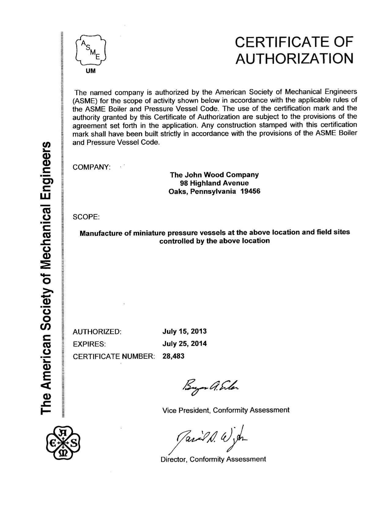 The John Wood Company Certificates The John Wood Company